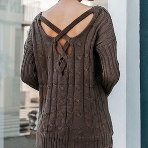 Sweaters - CHARLIE Criss Cross Back Knit Sweater